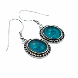 Roman glass earrings dangling israeli blue green