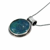 Roman Glass Necklace Sterling Silver Pendant