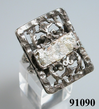 Roman glass ring sterling silver