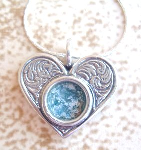 Roman Glass Silver heart pendant
