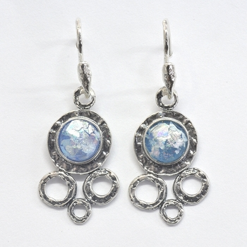 Roman glass sterling silver earrings