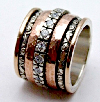 Cubic  zirconia ring    cz ring   silver & rose gold cocktail ring