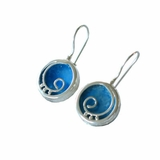 Round dangling roman glass earrings