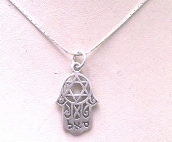 Sterling silver SAL Hamsa  necklace & star of David