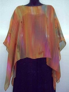 Silk handpainted poncho