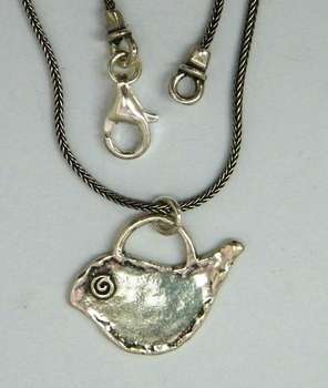 Silver dove necklace Israeli jewelry handcrafted