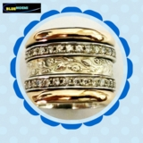 Silver gold cz zircons spinner ring , spinner rings for women, cocktail ring