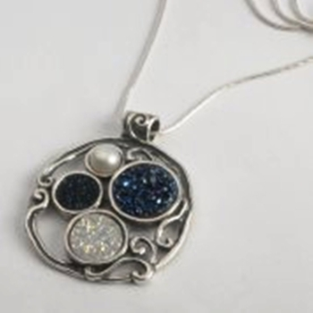 Silver Necklace Blue Druze gemstone Pendant