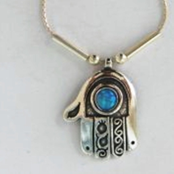 Silver Necklace Blue opal hamsa