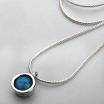 silver necklace for woman  / blue opal pendant