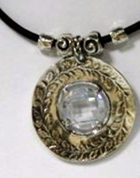 Sterling silver CZ zircon necklace on a leather cord