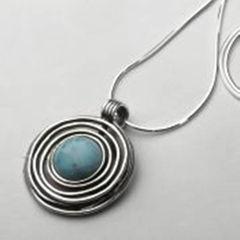 Silver Necklace Druze stone