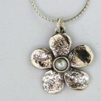 Silver Necklace flower with pearl necklace