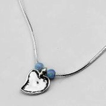 Silver Necklace heart and opals