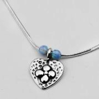 Silver Necklace heart flower and opals