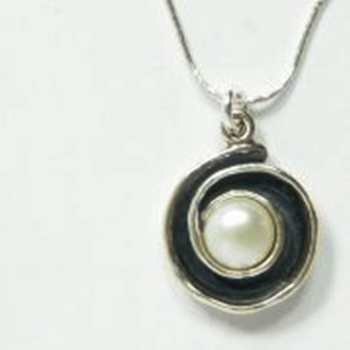 Silver Necklace  set with pearl
