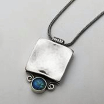 Silver Necklace set with handmade opal