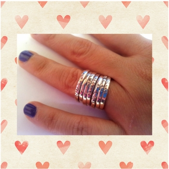 Silver Ring silver children names | Good Wishes Stacking Kids names or Stackable Blessings Bands |  Hebrew or English
