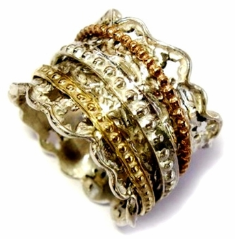 Spinner Ring Lace Design Sterling Silver & 9 carats Gold