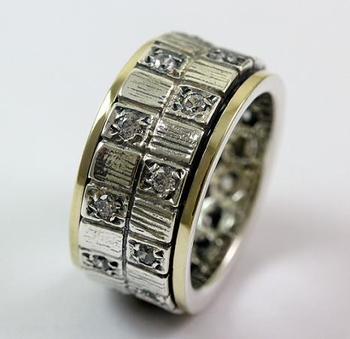 Spinner ring silver gold Mans Ring CZ zircons