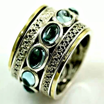 Spinner rings , spinner ring , silver gold ring set  with Blue Topaz