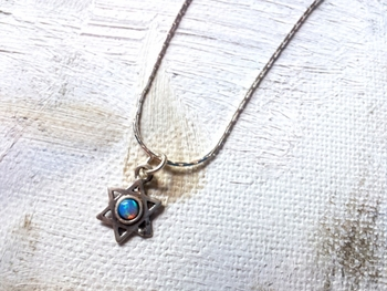 Very delicate Star of david necklace set with blue opal