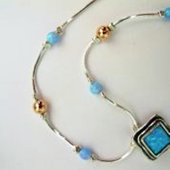 Sterling Silver opal Necklace Jewelry