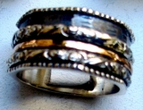 Ring silver gold bands three tones silver spinner ring flowers