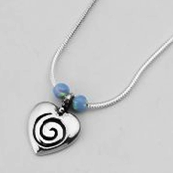 Young Sterling Silver Necklace Heart pendant and opal