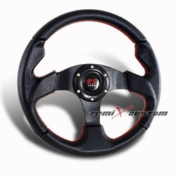 320MM 6-Hole JDM Red Stiches Black PVC Leather Steering Wheel