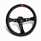 350MM 6-Hole JDM Black PVC Leather with Red Stitching Deep Dish F1 Style Steering Wheel