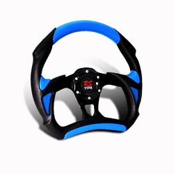 Battle Type 320MM 6-Hole JDM Blue/Black PVC Leather Steering Wheel