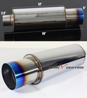"Polished Chrome N1 Style JDM 2.5"" Inlet/4"" Outlet Muffler Exhaust with Straight Titanium Burnt Tip"