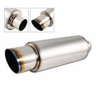 "Universal 4"" Slant Burnt Tip Stainless Steel Weld-on Exhaust Muffler 3.0"" Inlet and Silencer"