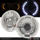 "Universal 7"" Round SMDx36 DRL White LED Projector Headlights with Signal"