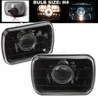 "Universal 7""x6"" Square Projector Headlights - Black"