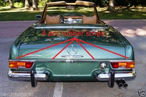 Rear rubber strips for mercedes 280sl 113 280se 111 3.5 coupe convertible cabriolet