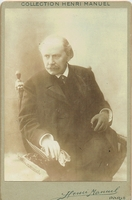 1 Handsome seated Massenet unsigned cabinet card in excellent condition, by Henri Manuel, Paris, 4.25x6.5
