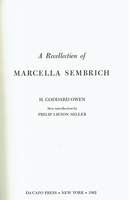 A Recollection of Marcella Sembrich  (H.Goddard Owen)    9780306761416