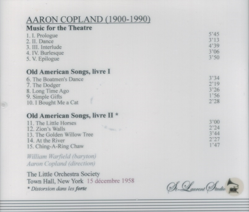 American Rarities Vol Viii Aaron Copland William Warfield