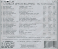 America's Singers Recorded           (Symposium 1361)
