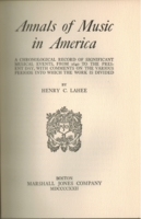 Annals of Music in America   (Henry C. Lahee)