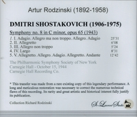 Artur Rodzinski, Vol. XXIV   (Shostakovitch)    (St Laurent Studio YSL 78-182)