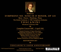 Arturo Toscanini (Beethoven 9th);   Bovy, Thorborg, Peerce, Pinza  (2-Immortal Performances IPCD 1079)