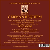 Deutsches Requiem (Brahms) - Arturo Toscanini;   Rethberg, Schorr;  Horowitz  (2-Immortal Performances IPCD 1068)