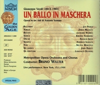 Ballo   (Bruno Walter;  Milanov, Peerce, Warren, Thorborg, Greer)   (2-Arkadia 2001)