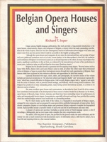 Belgian Opera Houses and Singers  (Soper)  (0-87152-516-X)