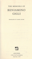 Beniamino Gigli      [Memoirs;  English Edition]        0-405-09679-8