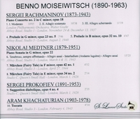 Benno Moiseiwitsch, Vol. I     (St Laurent Studio YSL 78-086)