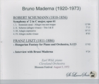 Bruno Maderna, Vol. I;  Earl Wild;  Cleveland Orch.  (St Laurent Studio YSL T-359)